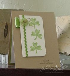 handmade St. Patrick's Day card: Stamping Impressions: 3 Lucky Shamrocks  ... luv the overall clean look ....cute use of rick rack and a button ... Stampin' Up!