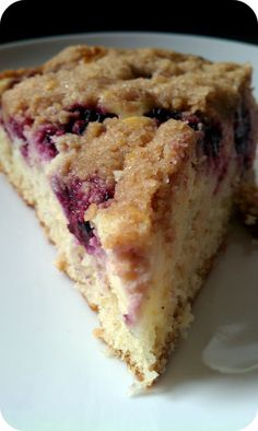 Blackberry Cream Cheese Coffee Cake Recipe ~ a soft buttery cake with a cheesecake-like layer, blueberries, and finished with a crunchy streusel
