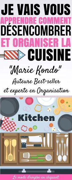 N'avez-vous jamais soupiré de désespoir en regardant votre cuisine encombrée et mal organisée ? Je pense que cela nous est tous arrivé, et plus d'une fois ! Pour ma part, je vois tous les ustensiles de cuisine que j'ai acheté et que je n'ai jamais utilisé. Je vois aussi le manque d'espace qui m'empêche de profiter de ma cuisine ! Le Gourou de l'organisation de la maison Marie Kondo... #trucs #astuces #trucsetastuces #cuisine #organisation #rangement #désemcombrer #idéesinterieur #interieur