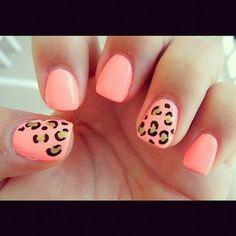 peach nails with cheeta - Google Search