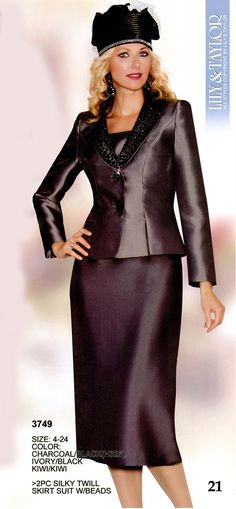 Lily and Taylor 3749 Womens Beaded Lapel Suit