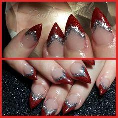 Red glitter nails. LOVE!!