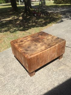 Old butcher block table repurposed for coffee table Cottage decor