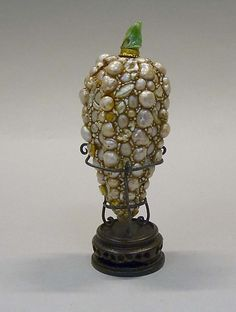 Snuff Bottle- Date: 19th century Culture: China Medium: Baroque seed pearls, green jadeite stopper