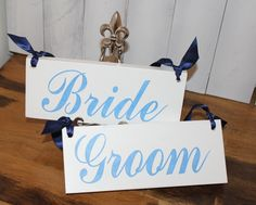 BRIDE  GROOM Chair Signs/Photo Prop/Great by gingerbreadromantic, $24.95