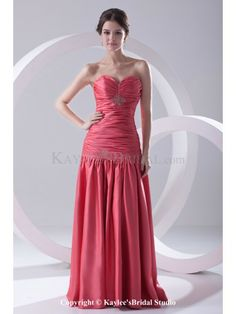 Satin Sweetheart A-Line Floor-Length Directionally Ruched Prom Dress