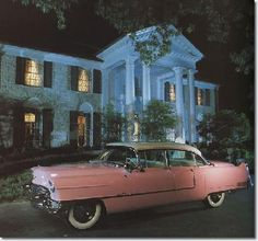 Elvis's home at night with his pink Cadillac , Free Shipping