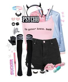 A fashion look from April 2017 featuring sexy tops, blue bomber jackets and bomber jackets. Browse and shop related looks. Cute Emo Outfits, Pastel Goth Outfits, Pastel Punk, Pastel Goth Fashion, Pastel Outfit, Teenage Outfits, Punk Outfits, Teen Fashion Outfits, Cosplay Outfits