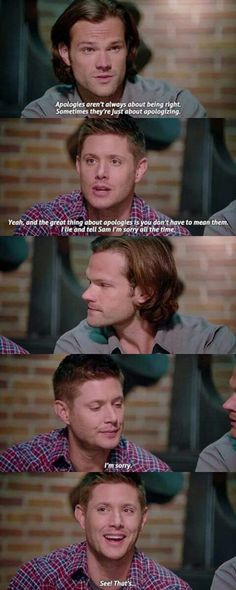 Sam and Dean playing Dr. Phil to Luci and Chuck. Only on SPN