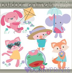 Girl Animals Clipart Personal and Limited Commercial Use