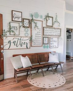 To Create An Easy Gallery Wall! - Cotton Stem How To Create An Easy Farmhouse Wood Sign Gallery Wall! – Cotton Stem How To Create An Easy Gallery Wall! - Cotton Stem How To Create An Easy Farmhouse Wood Sign Gallery Wall! Country Farmhouse Decor, Farmhouse Style Decorating, Southern Farmhouse, Farmhouse Small, Victorian Farmhouse, Farmhouse Plans, Farmhouse Design, Room Wall Decor, Living Room Decor