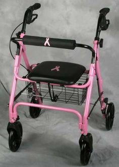 """Breast Cancer Awareness Rollator by WMU. $278.14. Comfortable padded seat - 13.5"""" wide x 14"""" deep with loop brakes - pull to stop, push to lock. Height adjustable handles adjust from 31.5"""" high to 37.5"""" high. The attached basket beneath the seat provides security yet is easily removable to carry with you. Weighing only 15 pounds it's lightweight aluminum makes transporting easy. 300 lbs weight capacity.Rollator, 4 Wheeled Walker With Seat, Pink Color With Pink Ribbon Lo..."""