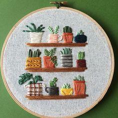 Lemonmadeshop.etsy.com tiny houseplants on shelves embroidered hoop succulents cactus