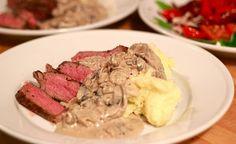 Steak with Wine Shallot Mushroom Cream Sauce & Mashed Potatoes  c/o Jenny Steffens Blog