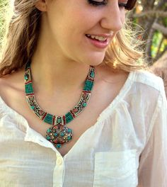 956ca5b21521 Bold and Tranquil Tibetan Necklace - thedharmashop Joyas Tibetanas