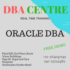 ORACLE DBA Online & Class Room Real Time Training & 100% job Placements.