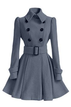 Women's Chic Belt Long Sleeve Winter Coat Dress