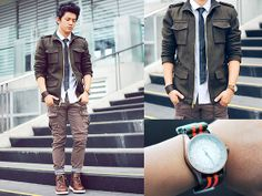 Fossil Watch, Asprey Nato Strap, Forever 21 Military Jacket, Solo Slim Tie, Wagw Button Down, Sm Dept Store Pants, Topman Socks, Forever 21 Boots