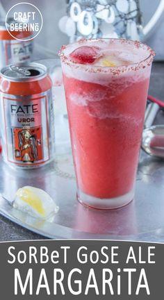Strawberry sorbet gose margarita. Star in the summer craft beer cocktails universe. With Hawaiian alaea salt rim. Uror Gose.