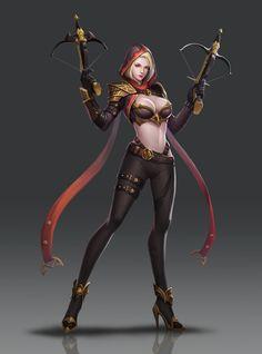 f Rogue Thief Leather Armor Cloak Dual Crossbow underdark ArtStation - Devil Hunter Trrrixie wu Fantasy Girl, Fantasy Female Warrior, Chica Fantasy, Fantasy Art Women, Warrior Girl, Fantasy Armor, Anime Fantasy, Dark Fantasy, Female Art