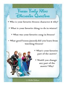 Frozen Movie Night Family Talk Discussion Questions - free printable StuffedSuitcase.com