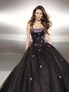 NO.037862 2011 style ball gown strapless applique sleeveless floorlength tulle black prom dress evening dress