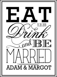 Eat, Drink, and Be Married as save the date postcards with picture