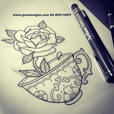 Tea Cup Tattoo - For my Grammie Tattoo Sketches, Tattoo Drawings, Body Art Tattoos, New Tattoos, Sleeve Tattoos, Tatoos, Pretty Tattoos, Beautiful Tattoos, Teacup Tattoo