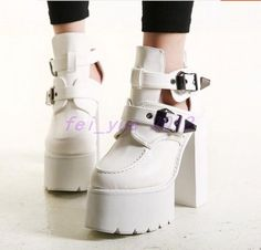 Womens Punk High Platform Chunky Heels Creeper Buckles Biker Shoes Ankle Boots #
