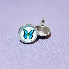 Blue Butterfly Silver Plated Glass Stud by NicolesJewelleryAUS #Nicolesjewellery #handcraftedjewellery #etsyaustralia #etsystore #etsyseller #etsyau #NewDesigns #BuyNow #AvailableNow  #Jewellery #Earring
