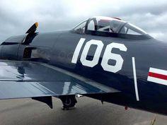 "Front view of this Grumman F8F-2A Bearcat ""Wampus Cat"" BuNo. 121752."