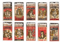 Matchbox Art Of Drunk Cats Depict Many Common Late-Night Bar Scenarios Drunk Cat, Funny Drunk, 9gag Funny, Funny Fails, Fluffy Black Cat, Design Retro, Graphic Design, Cat Design, Street Art