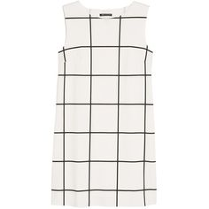 Mango Check Ponte Dress, Natural White ($27) ❤ liked on Polyvore featuring dresses, tops, sleeveless summer dresses, white day dress, white sleeve dress, cut out sleeve dress and cutout dress