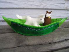 The Owl and the Pussy-Cat Felt Owl Felt Cat Felt by HollysMeadow