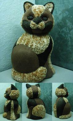 chat styropore (en polystyrène) recouvert de tissus