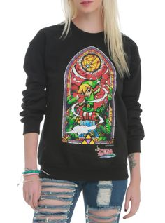 Black crewneck pullover with The Legend of Zelda: The Wind Waker inspired stained glass window design.