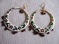 Minakri Enamel Floral  white earrings by Chitrasjewelart on Etsy, $15.00