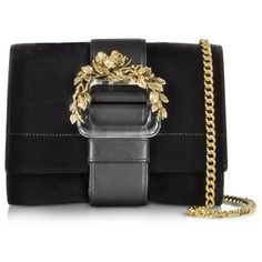 Roberto Cavalli Small Black Velvet & Leather Clutch w/Chain Strap ($1,690) ❤ liked on Polyvore featuring bags, handbags, clutches, black clutches, mini purse, leather clutches, floral clutches and black leather clutches