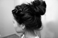 High messy bun. This has pretty much been my hair for ever. Love the braid though