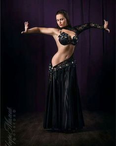Bold and black belly dance costume