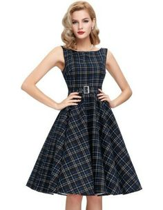 Ladies Summer Dresses casual Vintage vestidos 2017 style retro robe femme  ete sexy Club Print Plaid Plus size women clothing 794a3330c438