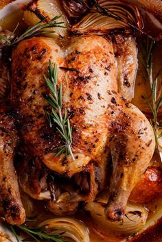 Succulent roast chicken flavored with fresh rosemary, garlic and lemon and cooked with white wine. So easy and absolutely delicious.