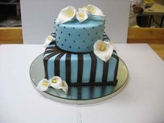 Blue & Brown Lily Cake (chocolate cake with raspberry filling) from Stack Bistro Pastry & Cake.  www.StackBistro.com