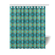 "Fire Colors and Turquoise Teal Shower Curtain 60""x72"""