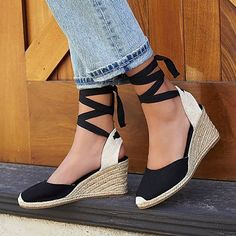 11e2dc7afa76 Women Flocking Wedge Sandals Casual Lace Up Shoes  ootd  wearitdaily  casual   daily