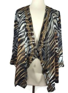 NEW Chicos Womens Topper Embellished Zebra Cardigan Draped Ink $129  Size 0 4/6  #Chicos #Jacket #EveningOccasion