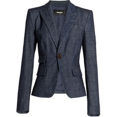 Dsquared2 Denim Blazer ($380) ❤ liked on Polyvore featuring outerwear, jackets, blazers, blue, coats, denim jacket, dsquared2 jacket, slim fit blazer, blue blazer and blue denim blazer
