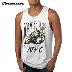 $13.00 Aliexpress.com : Buy Tank Top Men Fashion 100% Cotton Bodybuilding Sleeveless Undershirts Born To Ride Live Young Live Casual Summer Vest MBK179 from Reliable sleeveless undershirt suppliers on Biotumecos Store