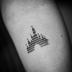 Blackwork Disney Castle Tattoo by Veronicka Lazarini