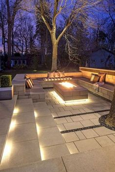 ways to improve your Techo-Bloc outdoor living area . - 7 ways to improve your Techo-Bloc outdoor living area ways to improve your Techo-Bloc outdoor living area . - 7 ways to improve your Techo-Bloc outdoor living area - Clean, ge. Backyard Seating, Backyard Patio Designs, Fire Pit Backyard, Backyard Landscaping, Landscaping Ideas, Garden Fire Pit, Cozy Backyard, Patio Ideas With Fire Pit, Veg Garden